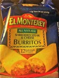 El Monterey Shredded Steak & Cheese Burritos Packaging